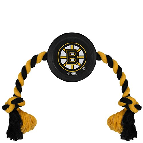 (NHL Boston Bruins Puck Toy for Dogs & Cats. Play Hockey with Your Pet with This Licensed Dog Tough Toy Reward!)