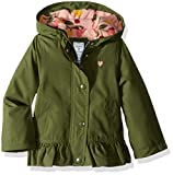 Carter's Toddler Girls' Mid-Weight Flounce Hem Jacket, Little Scout Olive, 3T