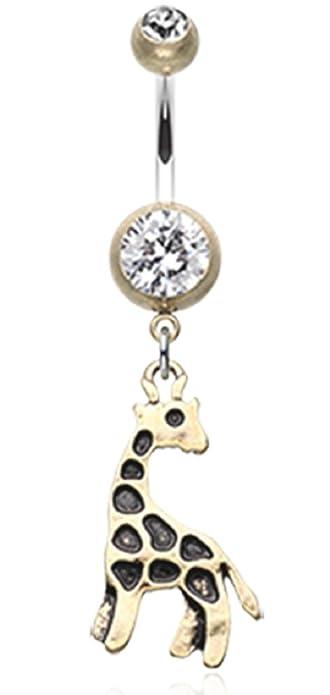 Amazon Com Belly Button Ring Navel Giraffe Body Jewelry Dangle 14