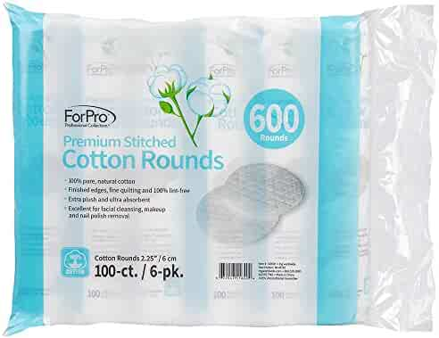 ForPro Premium Stitched Cotton Rounds, 100% Cotton, for Cosmetic, Nail, and Personal Care, 600-Count (Pack of 6-100 Cotton Rounds)