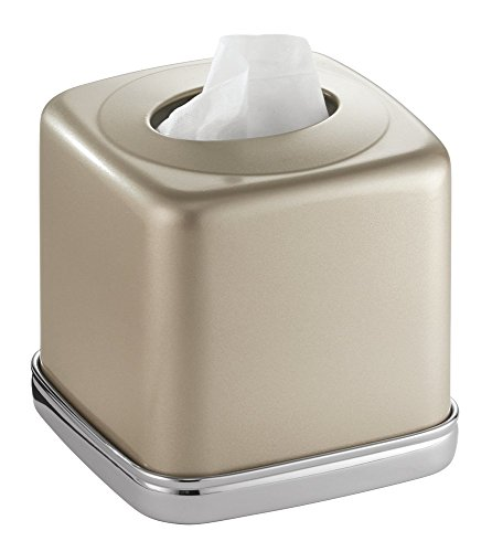 - mDesign Square Facial Tissue Box Cover Holder for Bathroom Vanity Counter Tops, Bedroom Dressers, Night Stands, Desks and Tables - Solid Steel Construction, Pearl Champagne with a Polished Chrome Base