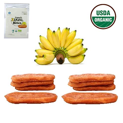 100% USDA Certified Organic Sun Dried Bananas No Sugar Added, No Preservatives, Unsulfured, Soft and Chewy, Natural Fruit Snacks 12.6 oz