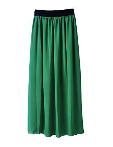 Fonc Bestgift pliss haute Vert taille Femme Jupe longue wqO0rXFq