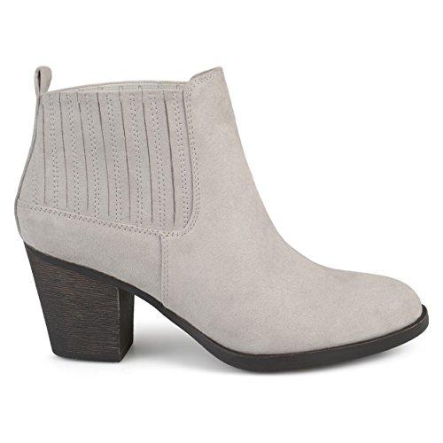 Brinley Co. Womens Silvia Faux Suede Block Heel Almond Toe Chelsea Booties Grey, 7.5 Regular US