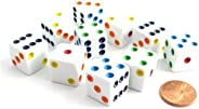 Koplow Games Set of 10 Six Sided D6 16mm Standard Dice White with Multi-Color Pips