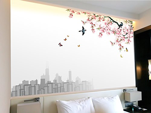 Large Wall Mural Watercolor Painting Style Cherry Blossom with Birds and Butterflies in Spring Vinyl Wallpaper Removable Wall Decor
