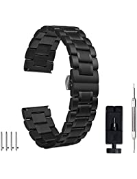 24mm 22mm 18mm Watch Band, Pluwatch Quick Release Premium Solid Stainless Steel Metal Business Replacement Bracelet Strap for Men's Women's Watch