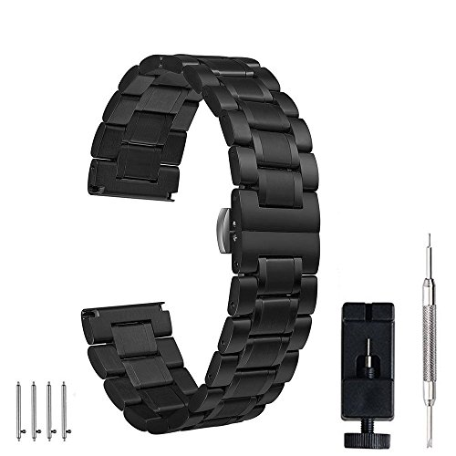 24mm 22mm 20mm 18mm Watch Band, PluWatch Quick Release Premium Solid Stainless Steel Metal Business Replacement Bracelet Strap for Men's Women's Watch Black Classic Watch Band