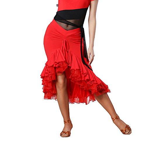 Q-JIU Latino Danza Gonna Signora Vita Fold Puro Colore Strato Rete Cucitura Gonna Pendolo Busto Gonna,Red,XXL