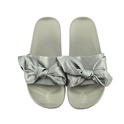 Pelliccia Flat Scarpe Ciabatta On Sandali Footwear Kick Donna Slip Muli Slipper Grigio Cursore Raso Pg8SXCqw
