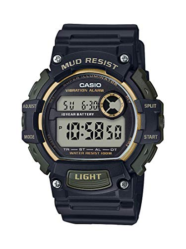 Casio Men s Mud Resistant Stainless Steel Quartz Watch with Resin Strap, Black, 27.6 Model TRT-110H-1A2VCF
