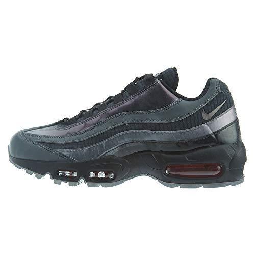 Nike Men's Air Max 95 Black/Ember Glow/Dark Grey Leather Cross-Trainers Shoes 10.5 M US