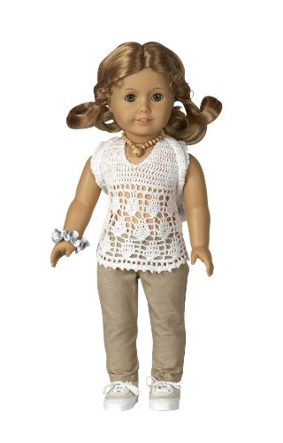 "Crocheted Top with Pants, Sneakers, Backpack and Hair Tie - Outfit Fits 18"" Dolls Like American Girl®"