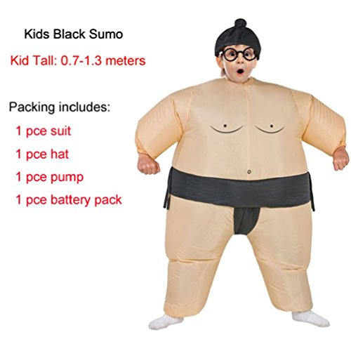 Female Wrestler Costumes (Adults Kids Inflatable Sumo Suits Wrestler Costume Outfits For Men Women Children Fat Man Airblown Sumo Run Cosplay Halloween)
