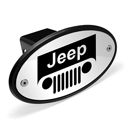 Jeep Grill Logo Chrome Metal Plate 2 inch Tow Hitch Cover