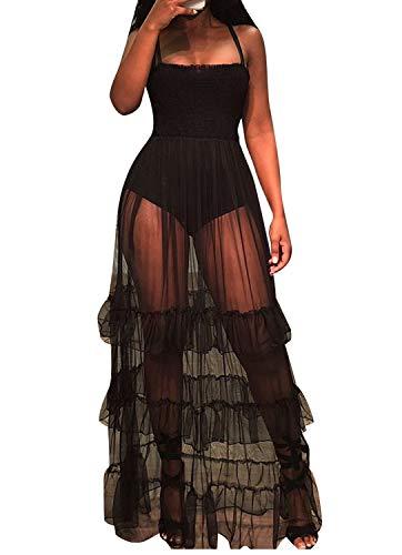 (WIFORNT Women Sexy Spaghetti Strap Sleeveless Tank Bodycon Bodysuit with Pleated Semi Sheer Mesh Ruffle Maxi Club Dress (Black_1,S))