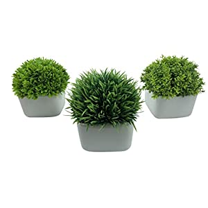 Peach Tree Farm Artificial Plastic Mini Plants Fake in White Ceramic Pot with Bamboo Tray for Home Décor 72