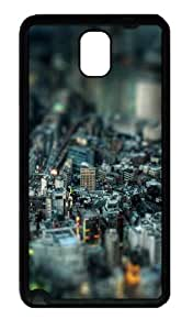 Miniature City 2 Tpu Silicone Rubber Case Back Cover for Samsung Galaxy Note 3 / Note III/ N9000 - Black