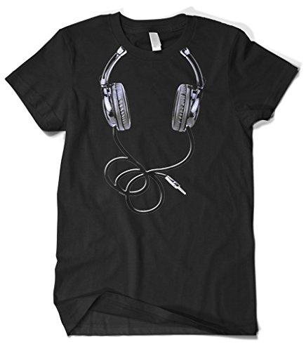 Cybertela Men's Big Oversize Hanging Headphone, DJ Music T-shirt (Black, -