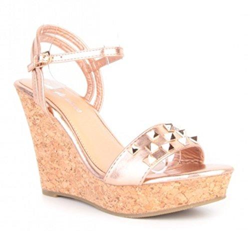 Damen Riemchen Mary Jane Keil Pumps Keilabsatz Sandaletten Spangenpumps Plateau High Heels Wedges 661 Pink