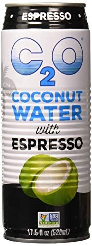 C2O Pure Coconut Water with Espresso | Plant Based | Non-GMO | Dairy Free | Essential Electrolytes | 17.5 FL OZ (Pack of 12) (Best Quality Coconut Water)