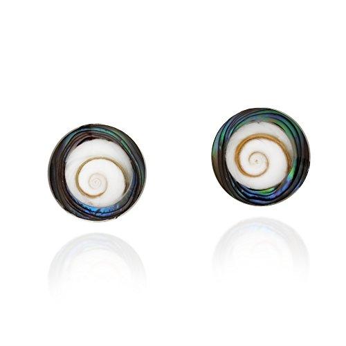 Modish Round Rainbow Abalone Shell Swirl Shiva .925 Sterling Silver Post Earrings