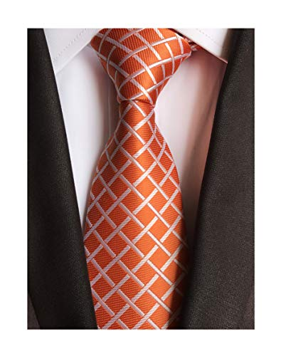 Men Orange Check White Fine Striped Ties Handmade Regular Narrow Wedding Necktie