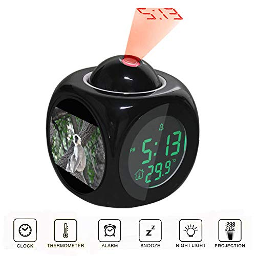 Projection Alarm Clock LCD Digital LED Display Talking with Voice Thermometer Function Desktop Grey and White Monkey on Tree Branch
