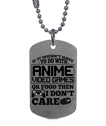 (DLAWNECK Cool Gaming Necklaces, I Love Anime Video Game Dog Tag (Dog Tag Necklaces - Silver))