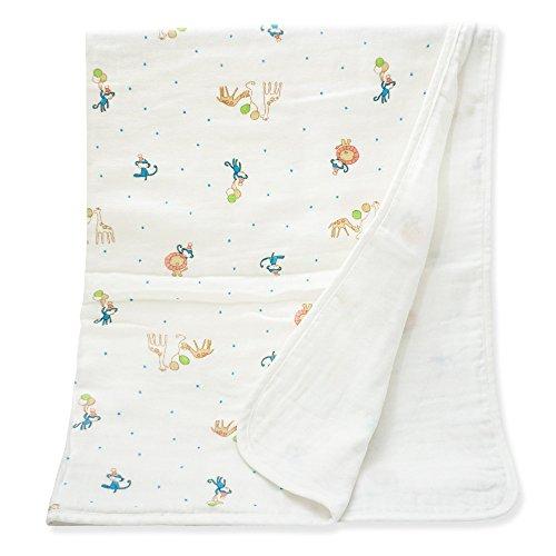 (Keepersheep Baby Blanket Swaddle Blanket, Cotton Knee Blanket, Knit Muslin Baby Swaddle Wrap Receiving Blanket (Animal Print))