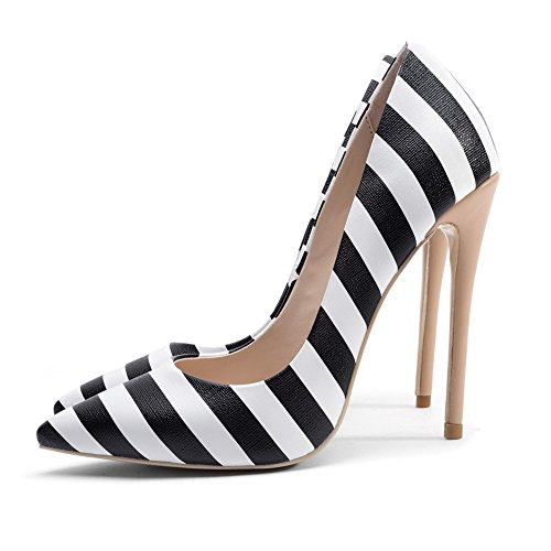 - Themost Womens Striped Pumps Pointy Toe Slip on 12cm High Heel Shoes Black