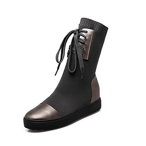 AllhqFashion Damen Weiches Material Rund Zehe Gemischte Farbe Stiefel mit Schnalle, Schwarz, 40