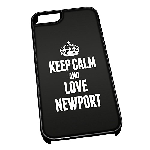 Nero cover per iPhone 5/5S 0457 nero Keep Calm and Love Newport