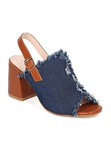 Indulge Heart.Thentic CIARA-20 Women Denim Peep Toe Frayed Chunky Heel Mule HB94 - Blue Denim (Size: (Heart Denim)