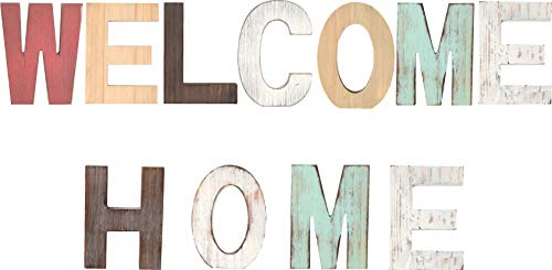 Rustic Wood Welcome & Home Signs Home Décor |Freestanding Wooden Letters Cutouts for Home Décor| Multi-Color Wooden Signs |Decorative Word Signs| for Kitchen Shelf, Farmhouse Décor, Living room