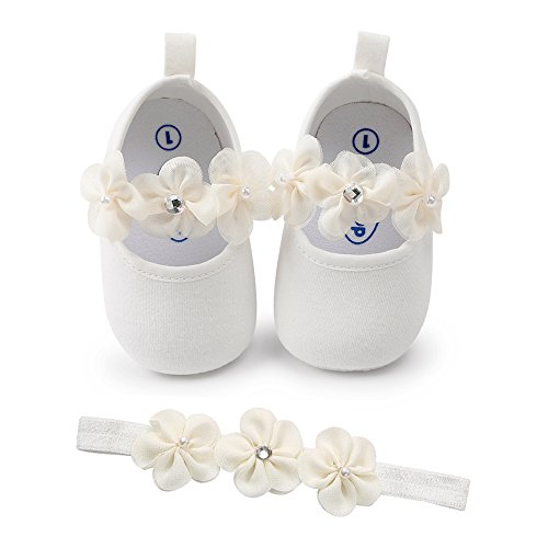 SOFMUO Baby Girls Floral Mary Jane Flats Soft Sole Infant Crib Walking Shoes with Headband (White,0-6Month) by SOFMUO