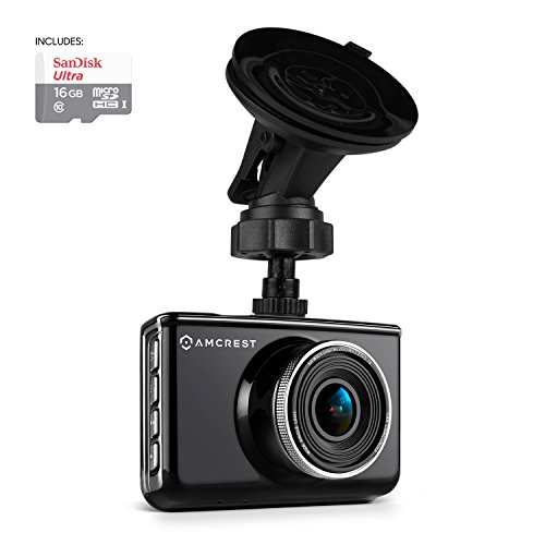 Amcrest Full-HD 1080p Dash Camera ACD-830B (Black) Car DVR Dashcam with 16GB Micro SD Card, Suction Cup Mounting Bracket, 160 Degree Wide Viewing Angle For Sale