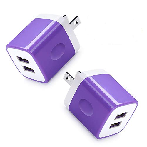 Dual USB Wall Charger, HUHUTA 2Pack 2.1A Home Travel Rapid USB Power Adapter Wall Charger Plug Compatible iPhone, Samsung Galaxy, Note, Nexus, HTC, Oneplus, Google, Motorola, Blackberry, Sony and ()