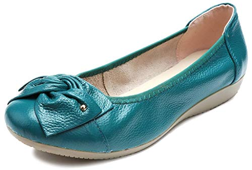 Fangsto Women's Genuine Leather Loafers Flats Working Shoes Slip Ons US Size 9 Dark Teal for $<!--$18.99-->