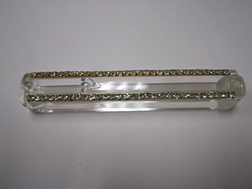 Clear Plastic Mezuzah Holder with a Row of Diamond Like Stones on Both Sides and Silver Shin Fits Scroll 15cm #M26268 ,Including Wooden