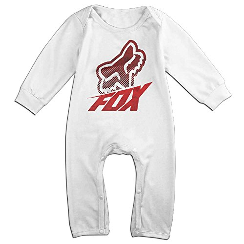 FENDYGT Baby Bodysuit Fox Racing Fox Head Band For Gym Logo Long-Sleeve Romper T-Shirt White 6 - Logo Ray Bands
