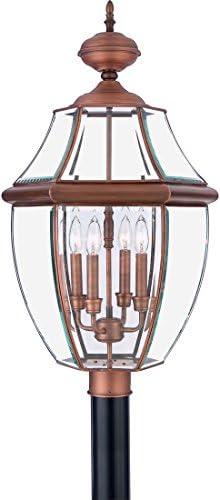Quoizel NY9045AC Newbury Outdoor Post Lantern Pier Mount Lighting, 4-Light, 240 Watts, Aged Copper 30 H x 16 W