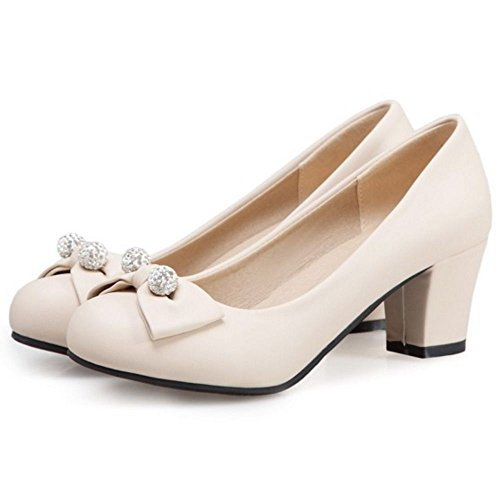 Mujer Oficina Beige Pumps Tacon Ancho Coolcept 1RpqR