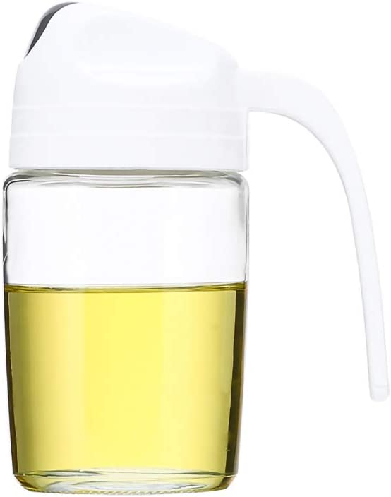 Fullgaden Auto Flip Olive Oil Dispenser Bottle,Leakproof Condiment Container with Automatic Cap and Stopper,Non-Drip Spout(10 OZ,White)