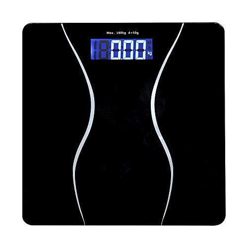 LeFeng Digital Weight Body Scale KG Analyzer - Bathroom Scale Accurate with Large Display - Step-On Technology with 400 Pounds(180 Kilograms) Capacity - Black (2 Batteries Included)