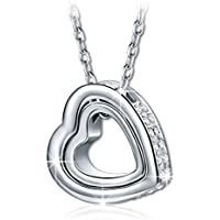 Kami Idea Women Princess Necklace Love You Forever Engraved Heart Pendant with Crystals from Swarovski, Elegant Jewellery Gift Box, Nickel Free Passed SGS Test, 45cm