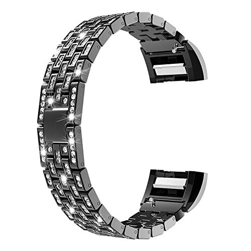 Price comparison product image CSSD Fashion Luxury Crystal Stainless Steel Metal Wristbands Watch Bands for Fitbit Charge 2 (Black)