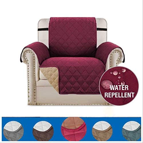 Pets. slipcover for Living Room Chair Cover R Noble Reversible Sofa Cover Burgundy, Recliner Sofa Slipcover Sofa Protector Perfect for Kids Water Repellent