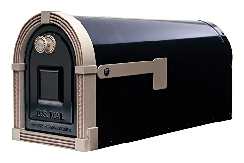 Gibraltar Mailboxes BM16BSN1 Brunswick Rural Mailbox, Large, Black and Satin Nickel