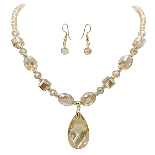 All Glass Simple Beaded Teardrop Dangle Statement Necklace Earrings Set (Topaz Color Light Brown)